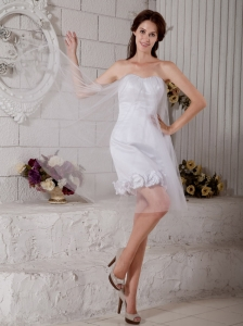 Customize Column Strapless Short Wedding Dress Tulle Hand Made Flowers Mini-length