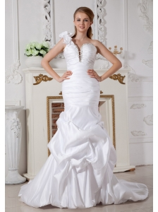 Customize Mermaid One Shoulder Beading Wedding Dress Court Train Taffeta