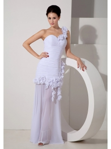 Customize One Shoulder Wedding Dress Chiffon Hand Made Flowers Floor-length