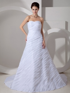 Customize Wedding Dress A-line Sweetheart Ruch Court Train Chiffon