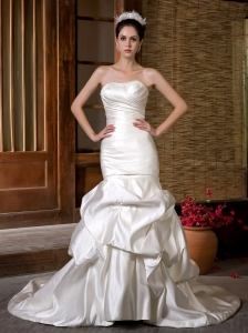 Customize Wedding Dress Mermaid Strapless Beading and Ruch Chapel Train Taffeta