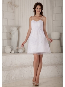 Cute A-line / Princess Spaghetti Straps Short Wedding Dress Appliques Mini-length Organza