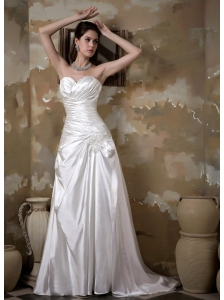 Elegant A-line Sweetheart Wedding Dress Court Train Elastic Wove Satin Appliques Ruch