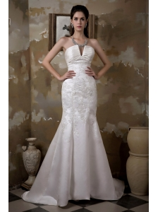 Fashionbale Mermaid Strapless Wedding Dress Court Train Satin Appliques