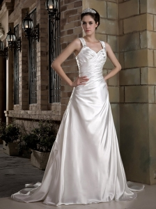 Graceful Wedding Dress A-line Straps Ruch and Appliques Chapel Train Taffeta