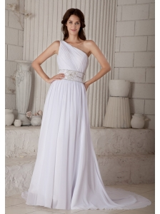 Informal Column / Sheath One Shoulder Beading Wedding Dress Court Train