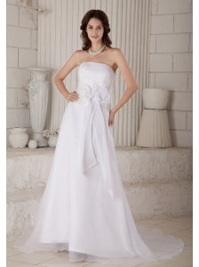 Lovely Column Strapless Hand Made Flowers and Embroidery Wedding Dress Court Train Organza