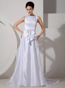 Low Cost A-line Bateau Wedding Dress Brush Train Satin Sash