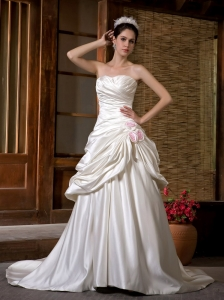 Low Cost A-line Strapless Wedding Dress Chapel Train Satin Ruch Hand Made Flowers