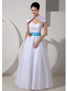 Low Cost A-line Sweetheart Wedding Dress Floor-length Taffeta Sash