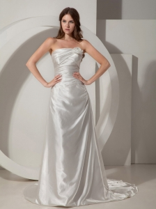 Low Cost Column / Sheath Wedding Dress Strapless Court TrainTaffeta Ruched