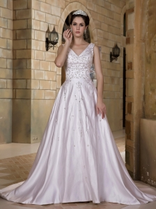 Luxurious A-line V-neck Wedding Dress Chapel Train Taffeta Beading