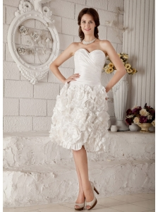 New A-line / Princess Sweeteart Short Wedding Dress Taffeta Ruch Knee-length