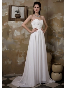 Pretty Empire Sweetheart Wedding Dress Brush Train Chiffon Beading and Ruch