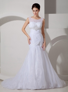 Pretty Wedding Dress Mermaid Scoop Appliques and Ruch Court Train Organza
