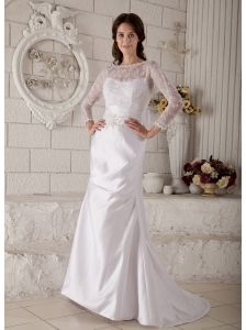 Remarkable Mermaid Bateau Lace and Appliques Wedding Dress Brush Train Satin
