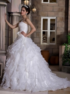 Romantic A-line Sweetheart Wedding Dress Court Train Taffeta and Organza Ruffles Hand Made Flowers