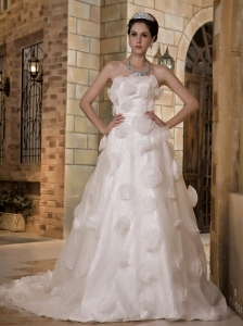 Unique Wedding Dress A-line Strapless Chapel Train Hand Made Flowers Taffeta and Organza