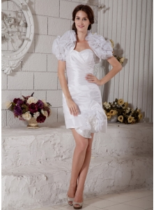 White Column Sweetheart Short Wedding Dress Taffeta and Organza Ruch Mini-length