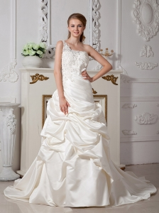 Wonderful Ivory One Shoulder Appliques Wedding Dress Court Train Taffeta