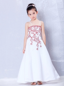 Beautiful White A-line Straps Embroidery Flower Girl Dress  Ankle-length Satin