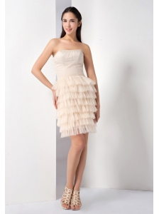 Beauty Champagne Ruffled Layers Strapless Cocktail Dress Mini-length