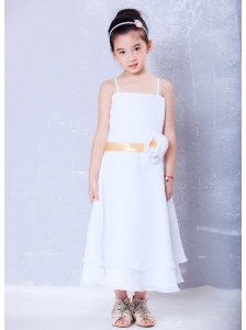 Best White Empire Straps Hand Made Flower Flower Girl Dress Ankle-length Chiffon