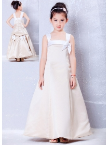 Custom Made Champagne A-line Square Bows Flower Girl Dress Ankle-length Taffeta