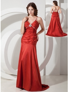 Custom Made Red Column / Sheath Straps Ruched Evening Dress Brush / Sweep Taffeta