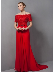 Custom Made Red Column Mother Of The Bride Dress Off The Shoulder Appliques Brush Train Chiffon
