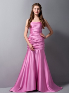 Custom Made Rose Pink Mermaid Strapless Homecoming Dress Brush Train Taffeta Ruch