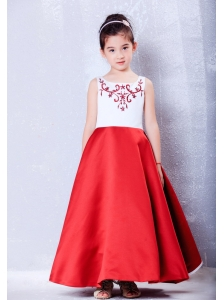 Custom Made White and Red A-line Scoop Embroidery Flower Girl Dress Ankle-length Taffeta