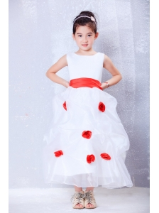 Custom Made White and Red A-line Scoop Hand Made Flowers Flower Girl Dress Ankle-length Organza and Taffeta