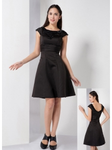 Customize Black A-line Scoop Little Black Dress Knee-length Satin Beading