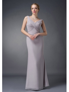 Customize Grey Column V-neck Mother Of The Bride Dress Chiffon Ruch Floor-length