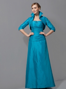 Customize Teal Column Mother Of The Bride Dress Strapless Ruch Floor-length Taffeta