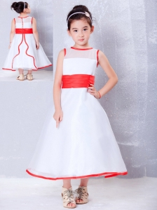 Customize White and Red A-line Scoop Flower Girl Dress Ankle-length Organza
