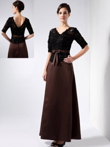Elegant Brown Mother Of The Bride Dress Column V-neck Beading Ankle-length Satin