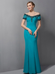 Gorgeous Teal Mermaid Mother Of The Bride Dress Off The Shoulder Appliques Floor-length Chiffon