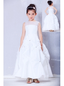 Lovely White A-line Bateau Beading Flower Girl Dress Ankle-length Taffeta and Organza