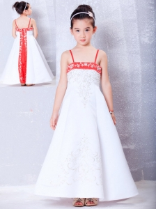 Lovely White and Red A-line Straps Embroidery Flower Girl Dress Ankle-length Satin