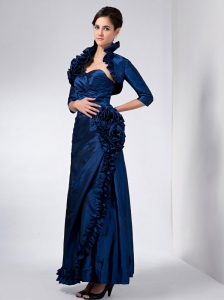 Luxurious Navy Blue Mother Of The Bride Dress Column Sweetheart Hand Made Flower Ankle-length Taffeta