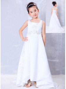 Luxurious White A-line Square Beading Flower Girl Dress  Brush Train Satin