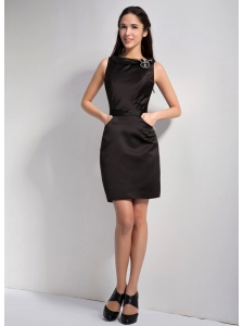 Simple Black Column Bateau Little Black Dress Mini-length Elastic Wove Satin Hand Made Flower