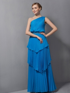 Simple Blue Column Mother Of The Bride Dress One Shoulder Pleat Floor-length Chiffon