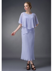 Simple Lilac Column Scoop Mother Of The Bride Dress Ankle-length Chiffon