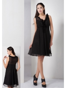 Sweet Black A-line V-neck Little Black Dress Knee-length Chiffon