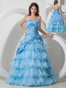 Affordable Baby Blue A-line Strapless Hand Flowers Prom Dress Floor-length Organza