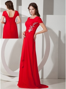 Affordable Red Empire Square Appliques Prom Dress Brush Train Chiffon