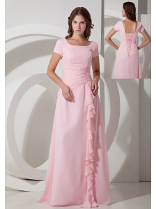Baby Pink Empire Square Floor-length Chiffon Beading Mother Of The Bride Dress